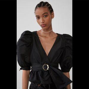 Zara Black Taffeta Blouse